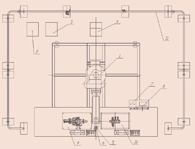 本工作站包括机器人1,机器人控制器2,带有控制器接口电路的焊接电源3