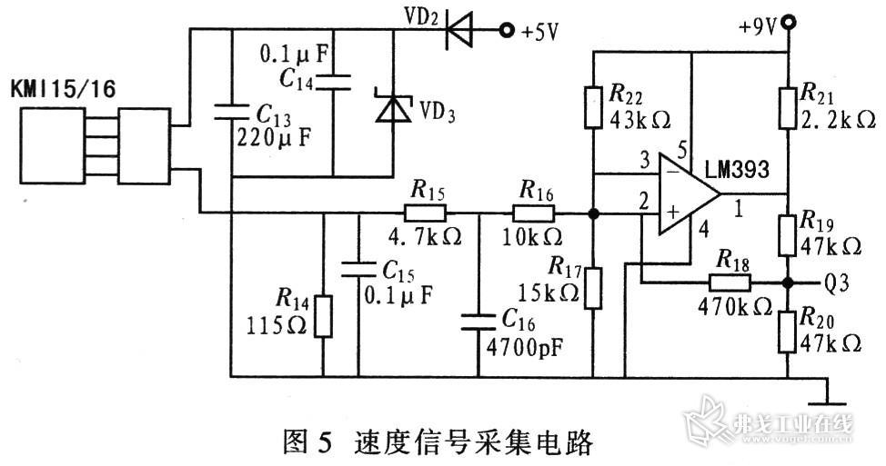 图5给出选用集成转速传感器kmil5/16构成的转速测量电路.