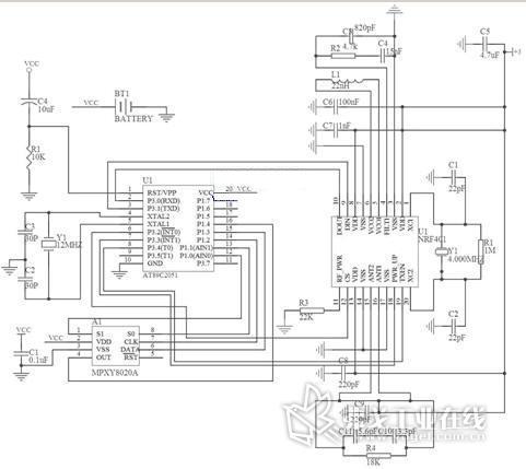 电源直接从车内12v电源通过电压转换电路转化后得到