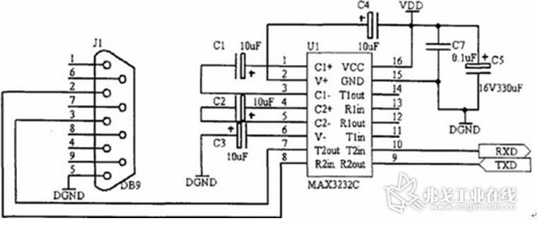 max3232c与处理器的接口电路如图5所示.