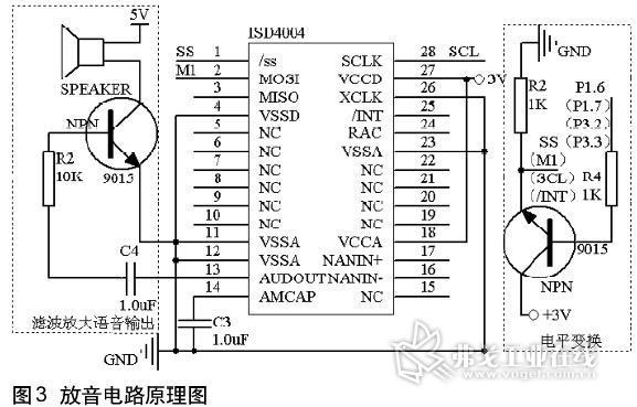 3分别通过电平转换电路接isd4004的串行时钟引脚sclk和中断引脚/int