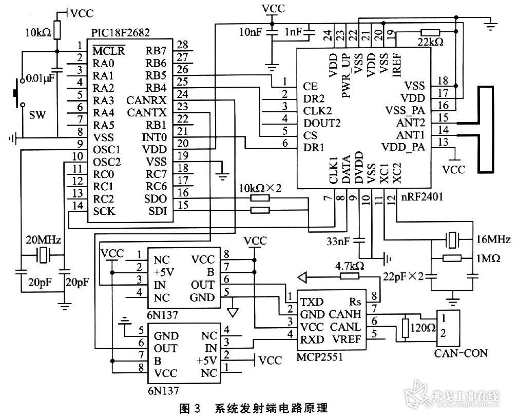 并由光耦6n137进行总线隔离;can总线收发器采用mcp2551.