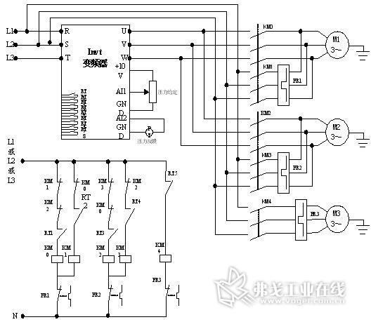 C水泵类选择  3:休眠专用泵。 PF.18- PF.20 水泵额定电流 根据电机实际电流值输入。 PF.25 RT1输入功能选择  1:连接A泵变频控制。 PF.26 RT2输入功能选择  2:连接A泵工频控制。 PF.27 RT3输入功能选择  3:连接B泵变频控制。 PF.28 RT4输入功能选择  4:连接B泵工频控制。 PF.