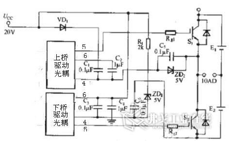自举电容充电电路中的二极管vd1必需是快恢复二极管,应留有足够的电流