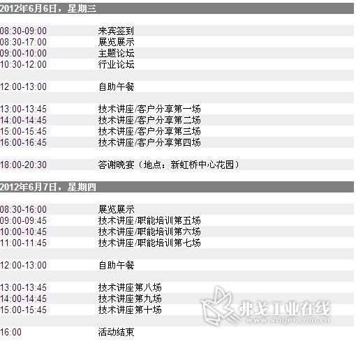 2012 ABB 自动化世界日程按排