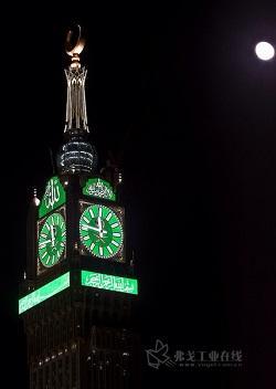 麦加钟楼顶部时钟·夜晚