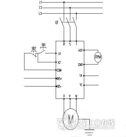通过变频器降压启动电路图