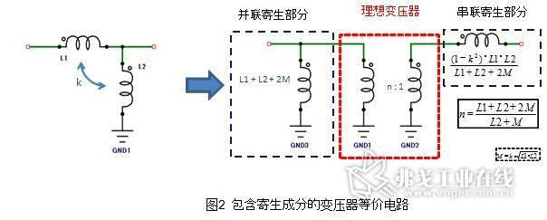 是一种将理想的变压部分和寄生成分部分分解开来的等效电路.