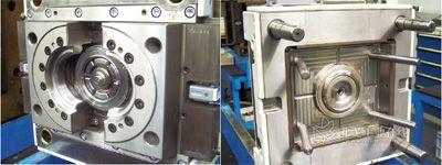 注塑冲压模。左:带有冲压芯模的移动半模。右:带有浇口套管和底盘的固定半模(图片来自威克迈动力系统部件公司)