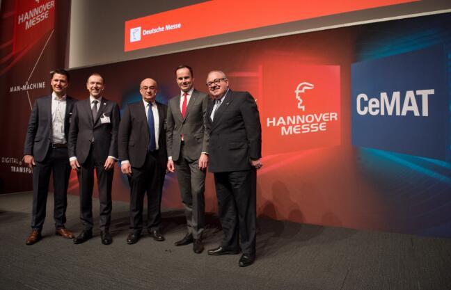 2月6日,Hannover Messe和CeMAT展前新闻发布会与会嘉宾合影