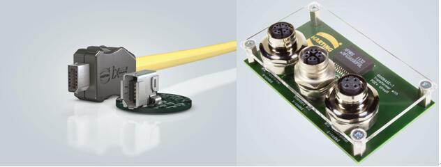 ix Industrial® (左)和M12 Magnetics:微型化应运而生。浩亭连接技术为设备构建节省了空间