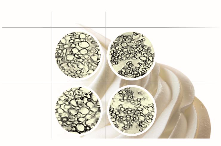 图3 丙二醇酯 (PGMS) 乳化剂如何在运输与储存期间的温度波动下维持冰晶大小