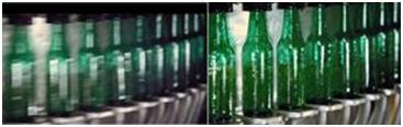 不使用(左)和使用(右)Speedview 的啤酒瓶生产线图像