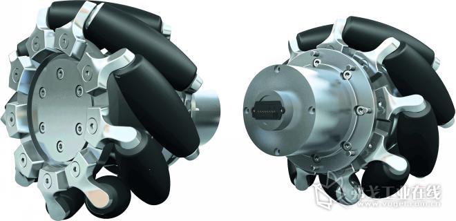 图3 带有麦克纳姆轮的驱动系统:由于其特殊的设计,麦克纳姆轮无需设定转弯直径便可以向各个方向自由移动,它适用于工厂的移动应用场景