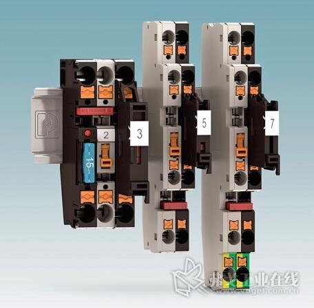 图1 带有连接式技术的保险丝接线端子的优点是简单和可靠布线缆,且结构紧凑,并具有通用性