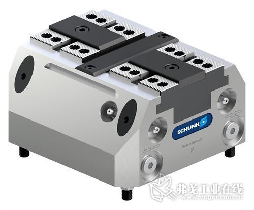 紧凑型 SCHUNK TANDEM plus 140 夹持模块的设计特别适用于机器人的自动化机床上料。