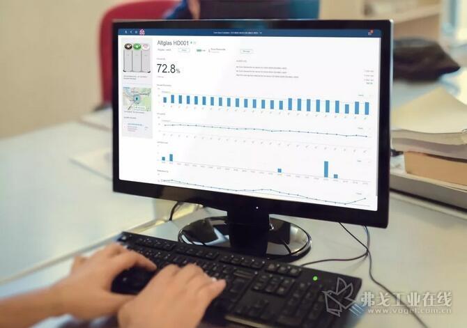 SAP可视化平台实时显示玻璃回收容器中的料位信息