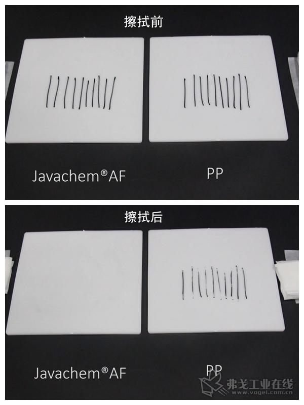 图4 Javachem®AF材的表面污渍更易擦拭