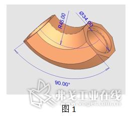 弯管的三维模型示意图
