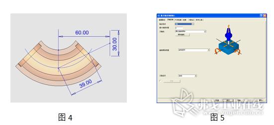 图4 刀轴控制曲线的绘制;图5 设置刀轴控制面板