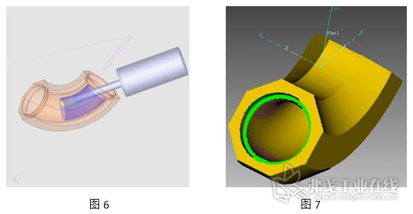图6 设置好合理的干涉面检查后通过计算即可得出刀具轨迹;图7 仿真模拟
