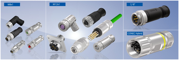 "CONEC – M8、M12、7/8""现场安装连接器,CONEC混合型连接器"