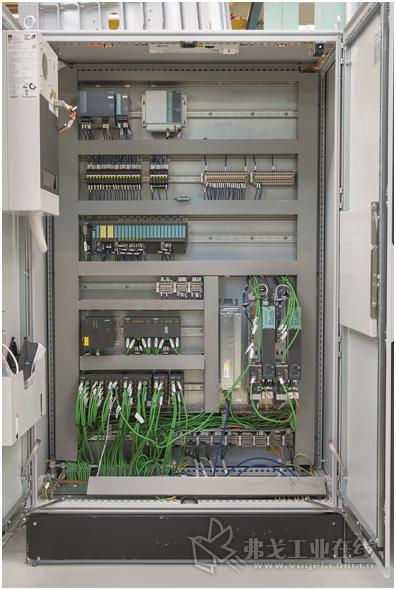 图4 采用西门子Totally Integrated Automation的全面自动化:带中央PLC控制(可编程逻辑控制器)的控制柜、I / O站以及借助安全模块Profi-Safe和总线系统Profi-Net的无故障通信