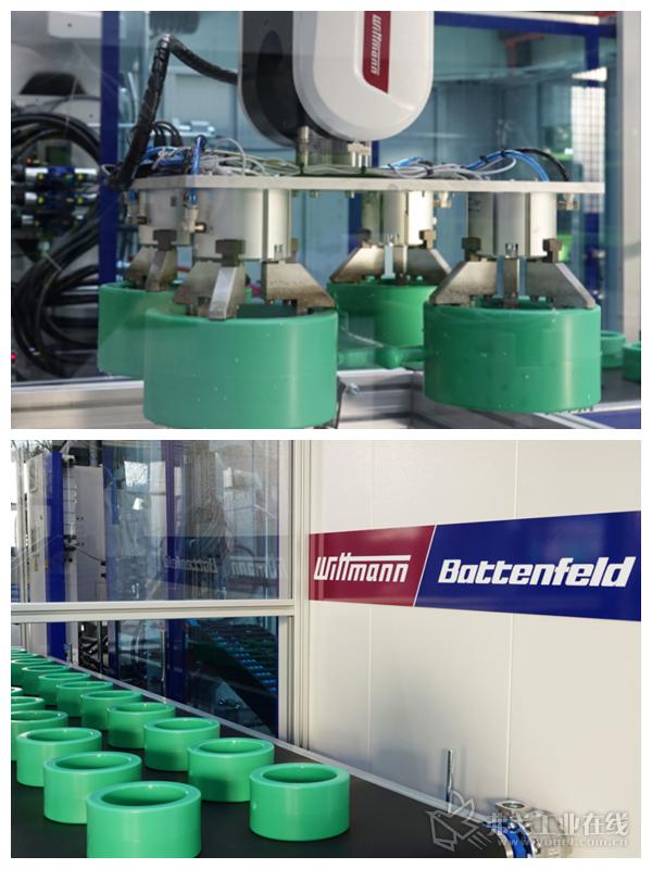 MacroPower 1000/16800配有订制的自动化系统。其中,威猛的W843 pro机械手负责部件的取出和放置操作