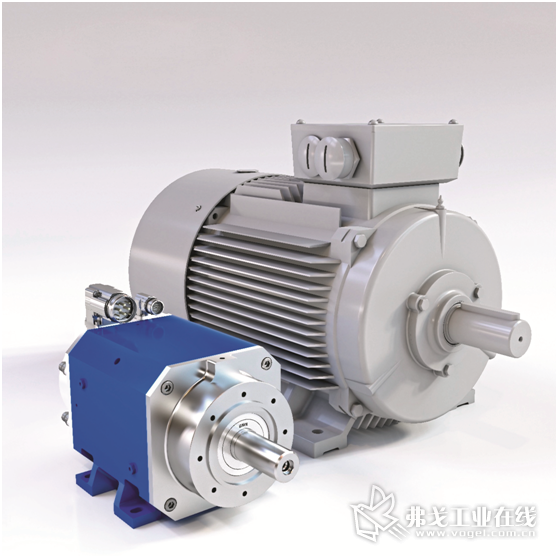 图2 经过多次优化改进设计的GMN高速水冷同步电动机(图中左侧)的体积更小,更轻轻,相比较,市场中常见的风冷异步电动机的体积是它的五倍左右
