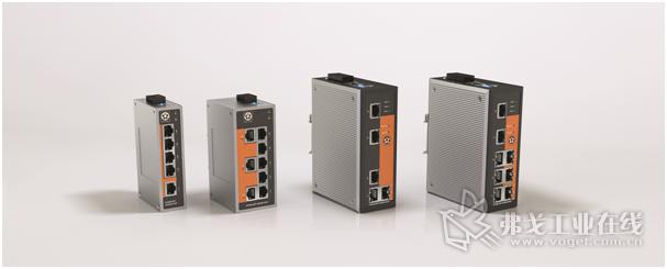 数据网络的交换中心:非托管型(图左半部分)和托管型交换机,每个交换机有5个或8个RJ45端口