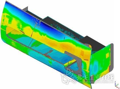 图4:使用Geomagic Control X三维检测软件对稳定装置进行扫描,扫描结果显示目标状态和实际状态之间存在着很明显的不同。图片由迈尔造船厂提供,版权所有。