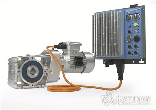 图1 LogiDrive驱动装置由节能型IE4减速电机、两级斜齿轮减速器和分布式变频器组成