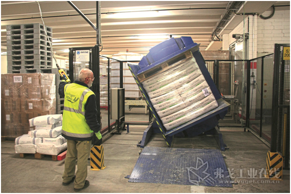 食品厂职工Roland Rupp先生正在用托盘翻转机翻转每袋25 kg的630型Dinkelmehl面粉托
