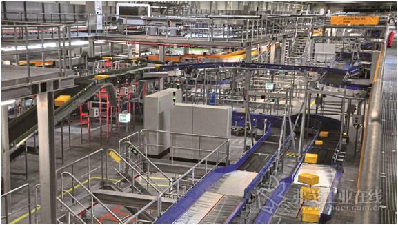 图2 DHL德国邮政集团公司新建分拣中心利用TSC分拣技术每小时能够完成50000件包裹的分拣