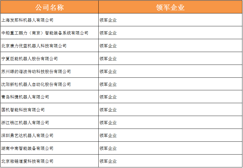 领军企业奖名单