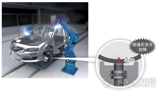 工件偏离原定位置,与传感器的距离过近,发生碰撞,导致故障或破损,设备停止。