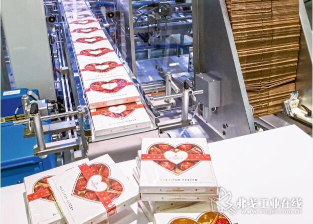 """在2018年的Fachpack国际包装设备展中,Schubert公司展示了自己全新的""""lightline""""轻型纸盒包装机系列产品,其中的RSC折叠纸盒包装机每分钟可以包装125盒巧克力"""