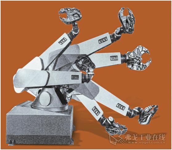 图3 1973年,库卡机器人公司推出了第一台带有六个电动机驱动的六轴工业机器人,开启了一个全新的机器人时代