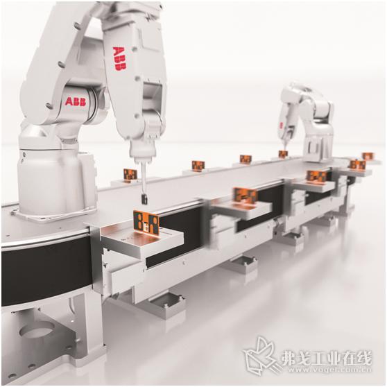 图2 ABB 机器人配合B&R柔性输送线