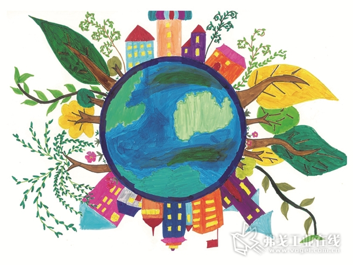 """CPCIC十周年伴手礼""""我眼中的绿色家园""""。(来源:由镇江学府路小学二年级一班学生王思雨绘制)"""