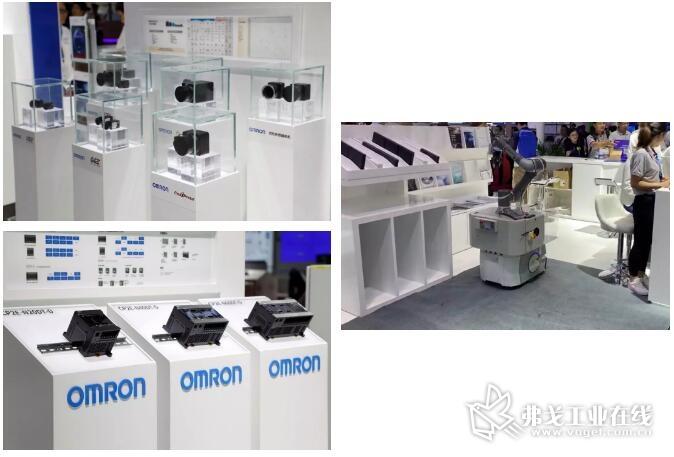 工业用相机 3Z4S-CA;满足小规模装置网络需求的万能控制器——可编程控制器 CP2E;实现物料搬送全自动化——MOMA移动手臂解决方案。(见下图)