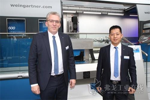 左边:魏因加特纳亚洲区销售总监毛泽先生 右边:魏因加特纳中国区销售经理李文增先生