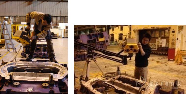 通用大宇工程师正在使用三维扫描仪扫描原始冲压模具