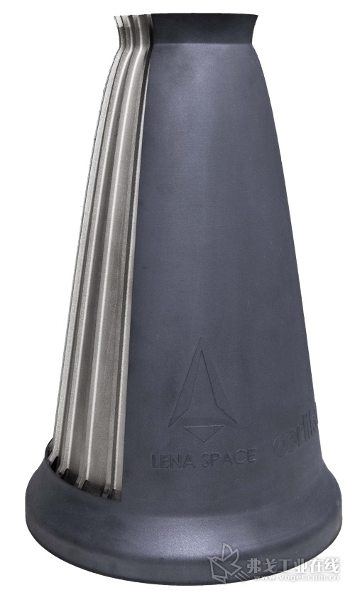 图2基于激光选区粉末床熔融工艺生产的镍基高温合金火箭喷嘴