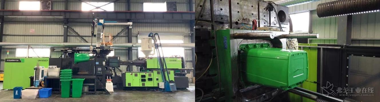 卓逸塑业采用i伊之密的UN1850D1注塑机生产容量为240L的塑料垃圾桶