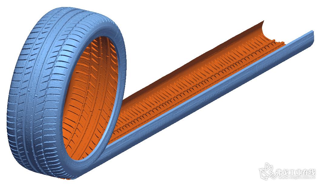 在Geomagic Design X中展开用于模具建模的轮胎三维扫描数模